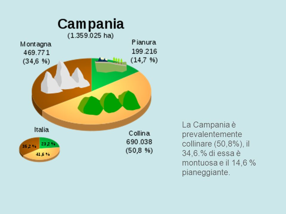 La Campania è prevalentemente collinare (50,8%), il 34,6