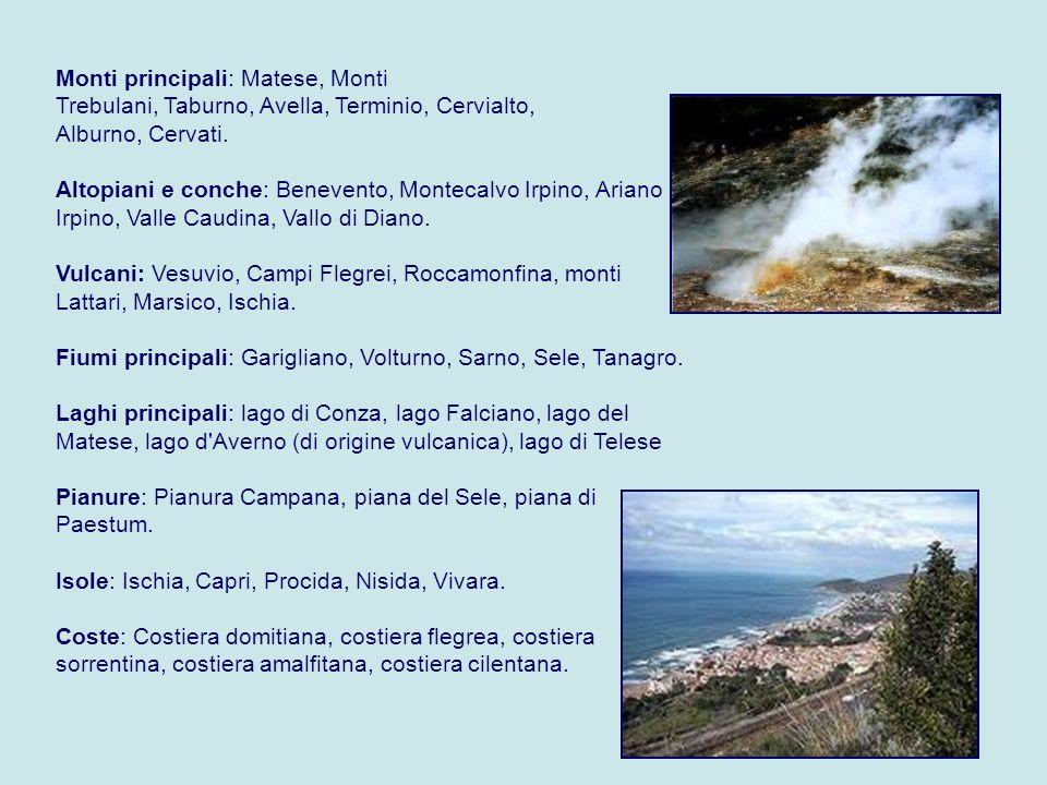 Monti principali: Matese, Monti Trebulani, Taburno, Avella, Terminio, Cervialto, Alburno, Cervati.