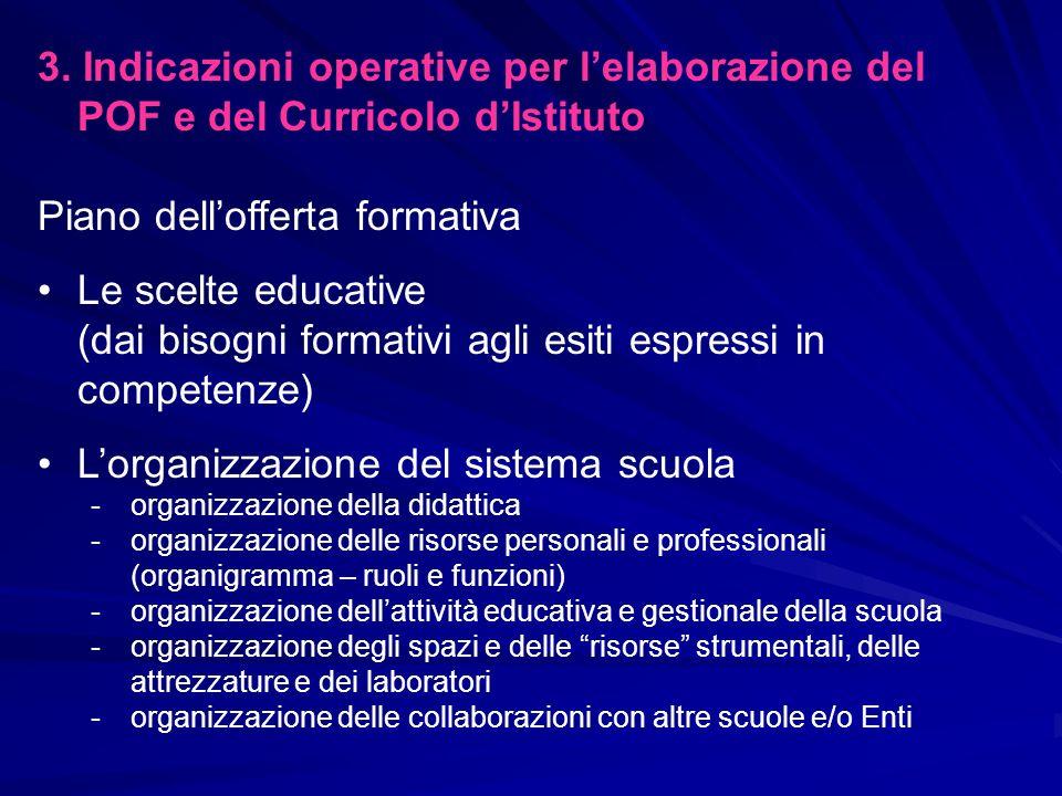Piano dell'offerta formativa Le scelte educative