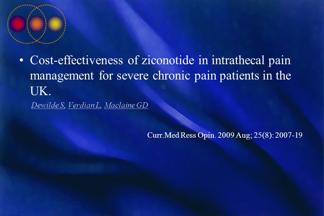 Cost-effectiveness of ziconotide in intrathecal pain management for severe chronic pain patients in the UK.