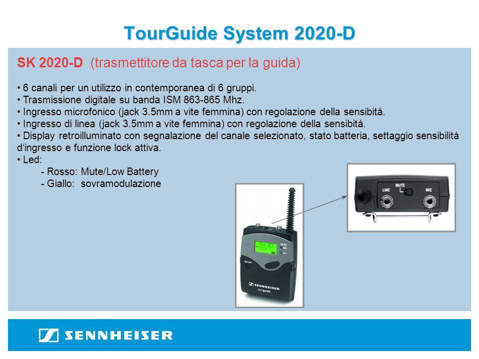 TourGuide System 2020-D SK 2020-D (trasmettitore da tasca per la guida) 6 canali per un utilizzo in contemporanea di 6 gruppi.