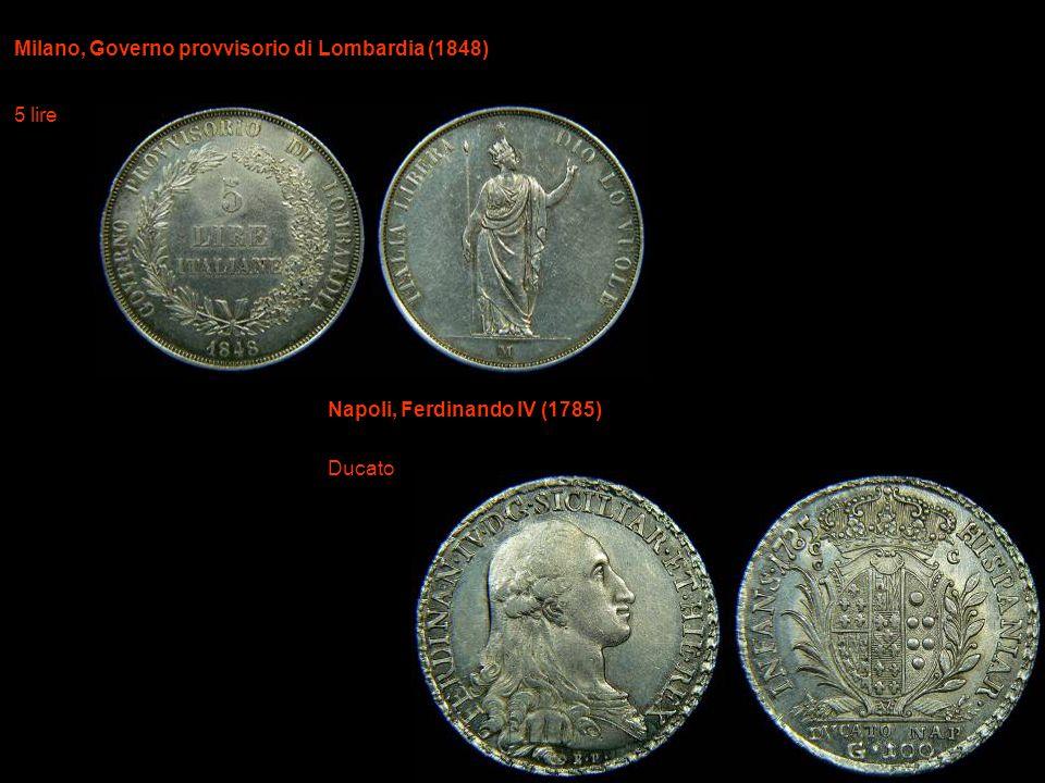 Milano, Governo provvisorio di Lombardia (1848) 5 lire