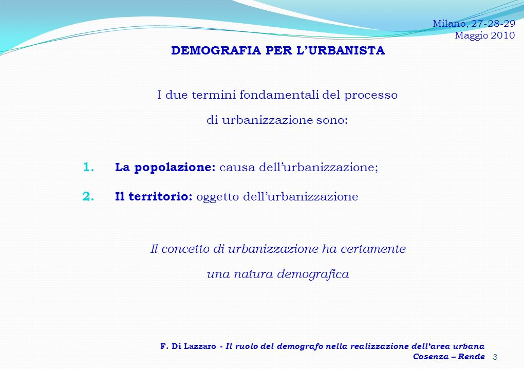 DEMOGRAFIA PER L'URBANISTA