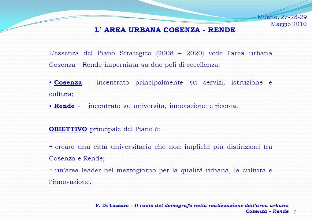 L' AREA URBANA COSENZA - RENDE