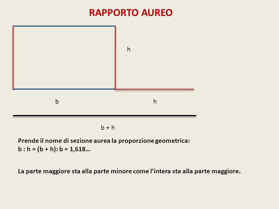 RAPPORTO AUREO h. b. h. b + h. Prende il nome di sezione aurea la proporzione geometrica: b : h = (b + h): b = 1,618…