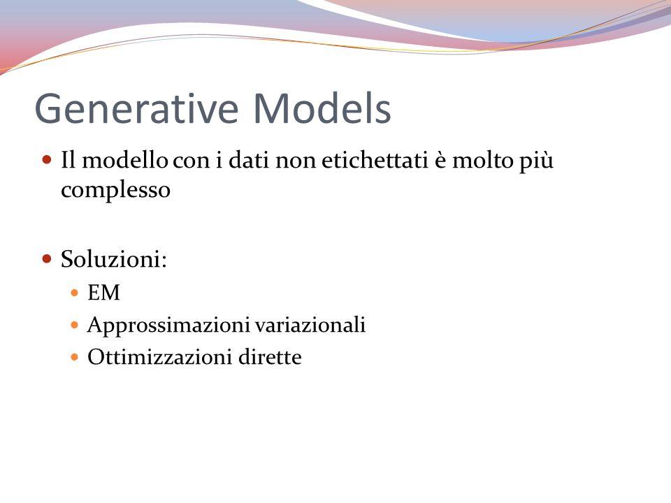 Generative Models Il modello con i dati non etichettati è molto più complesso. Soluzioni: EM. Approssimazioni variazionali.