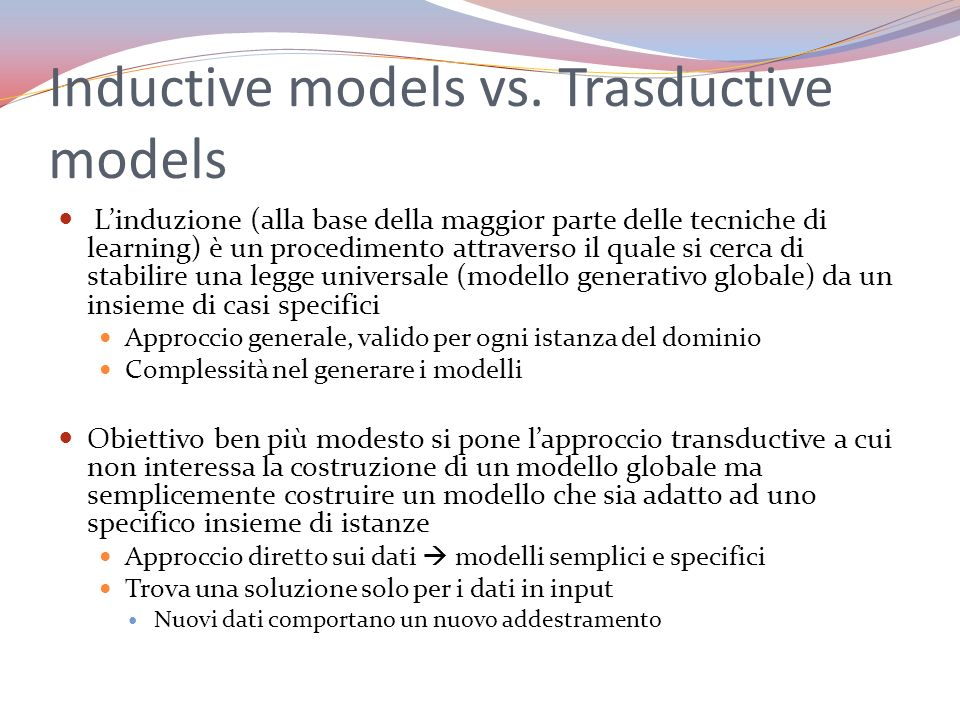 Inductive models vs. Trasductive models