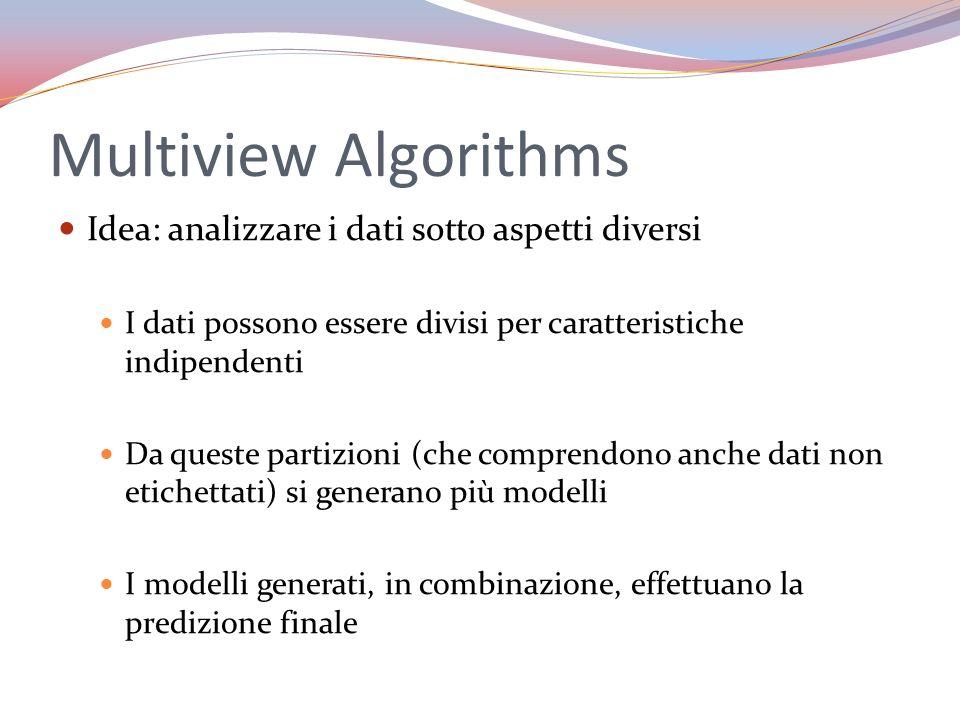 Multiview Algorithms Idea: analizzare i dati sotto aspetti diversi