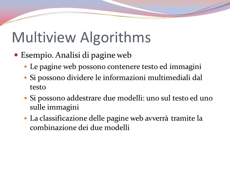 Multiview Algorithms Esempio. Analisi di pagine web