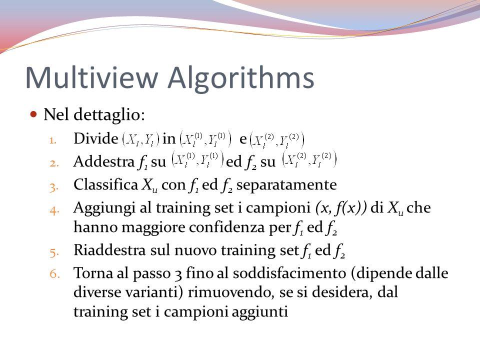 Multiview Algorithms Nel dettaglio: Divide in e