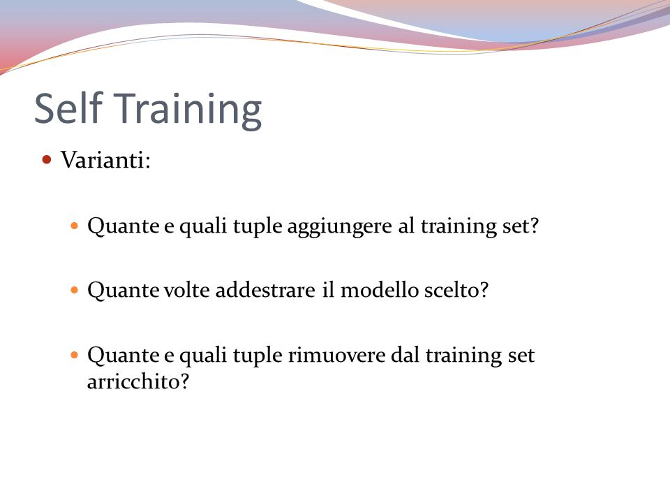 Self Training Varianti: