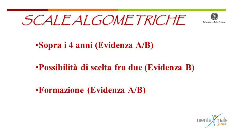 SCALE ALGOMETRICHE Sopra i 4 anni (Evidenza A/B)