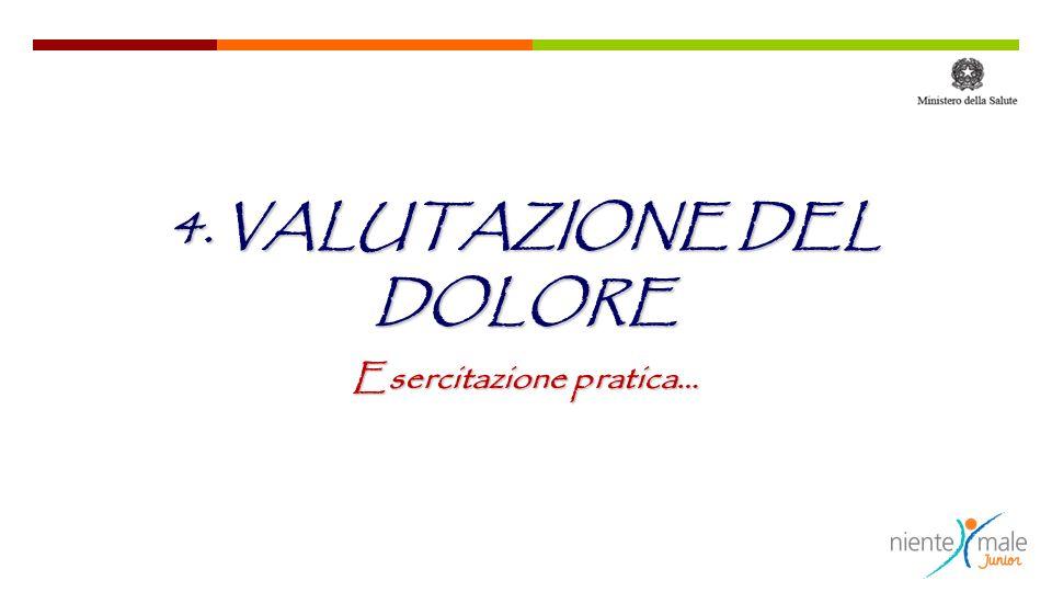 4. VALUTAZIONE DEL DOLORE Esercitazione pratica…