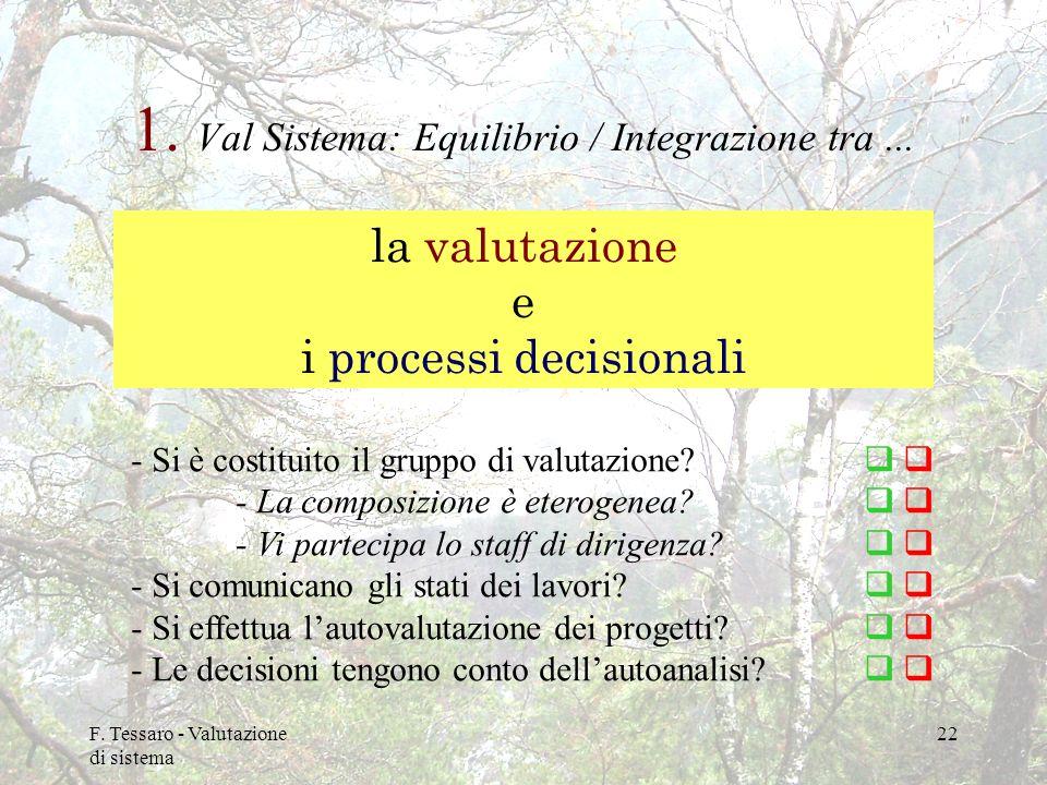 1. Val Sistema: Equilibrio / Integrazione tra ...