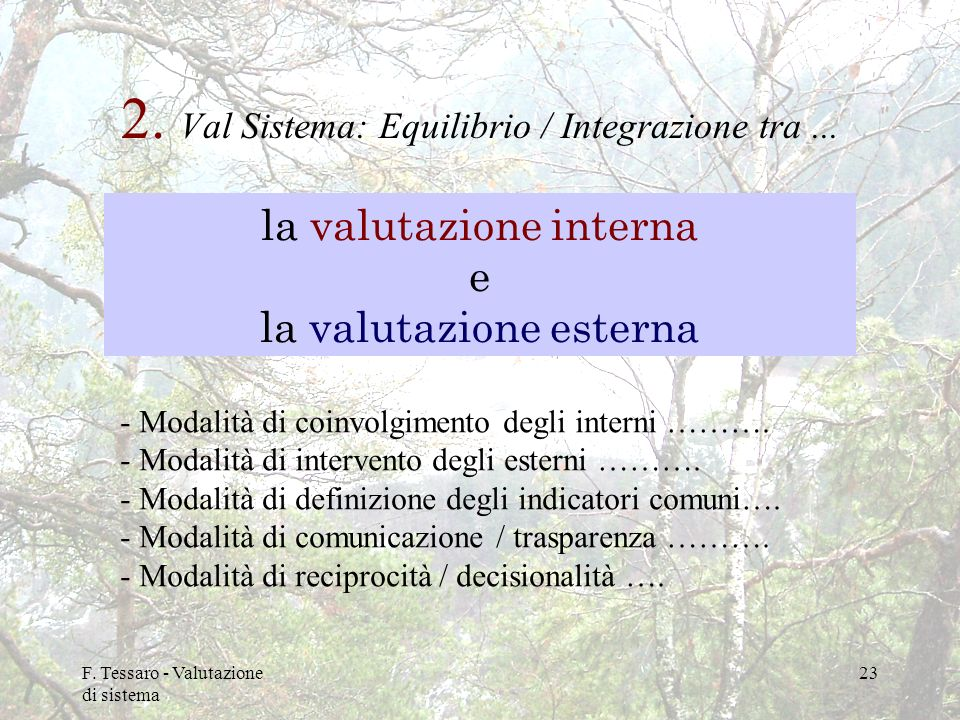 2. Val Sistema: Equilibrio / Integrazione tra ...