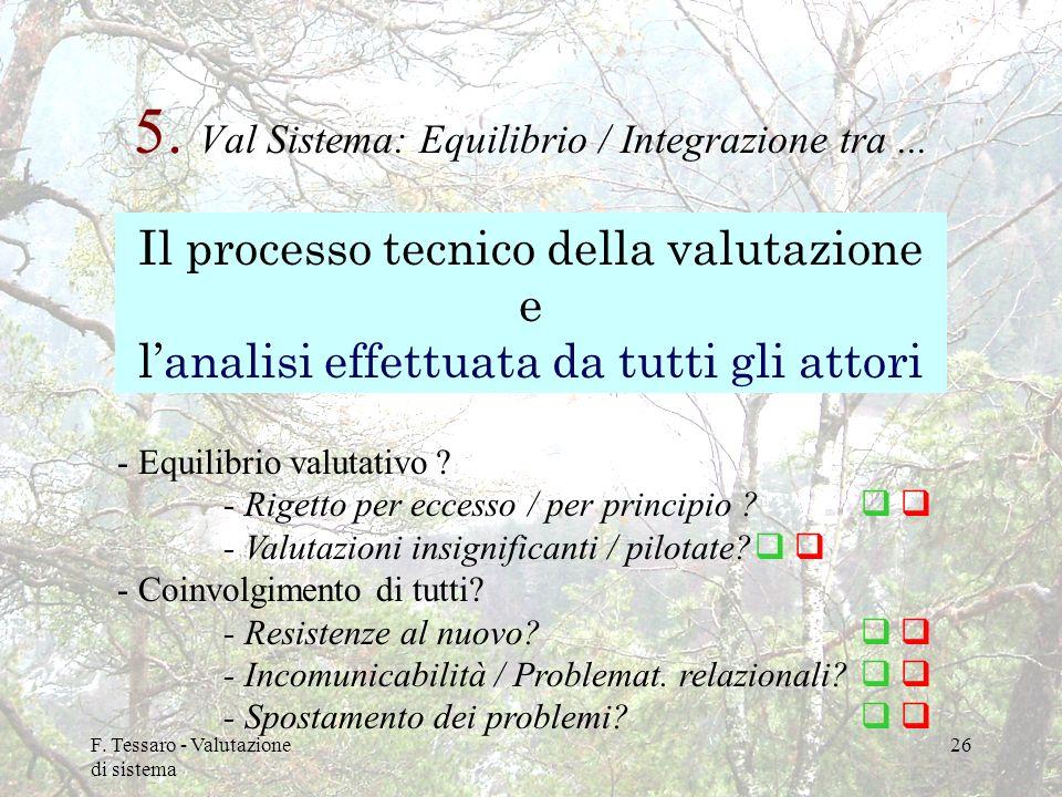 5. Val Sistema: Equilibrio / Integrazione tra ...