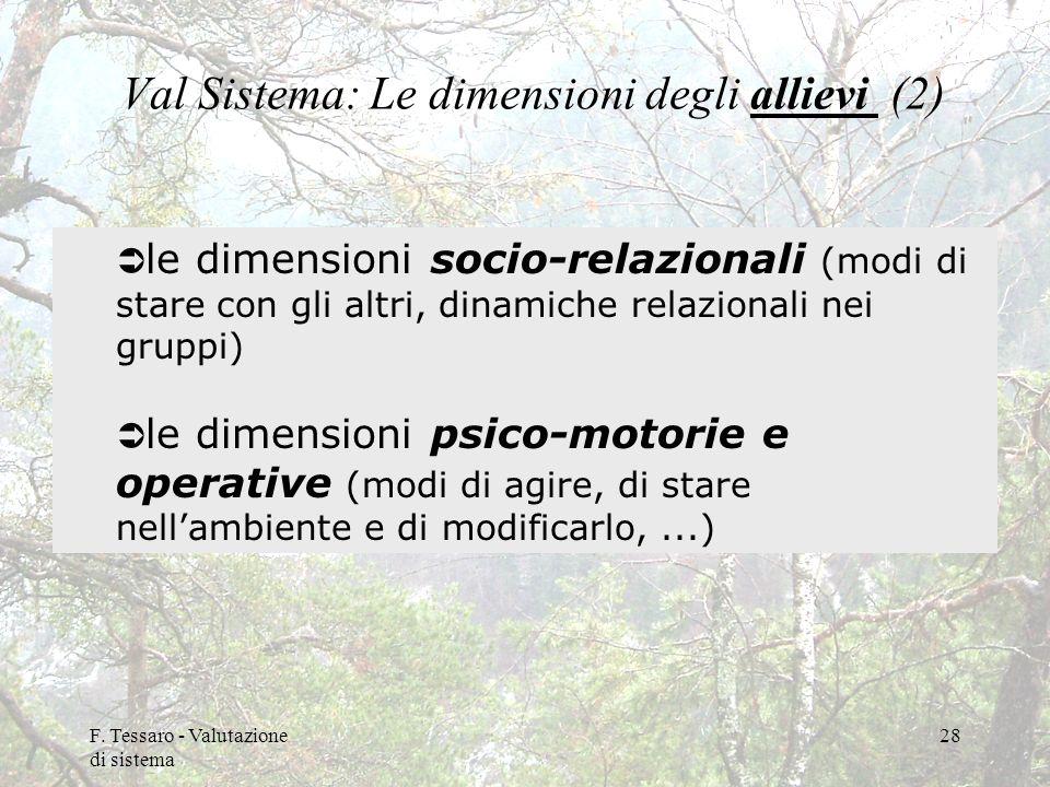 Val Sistema: Le dimensioni degli allievi (2)