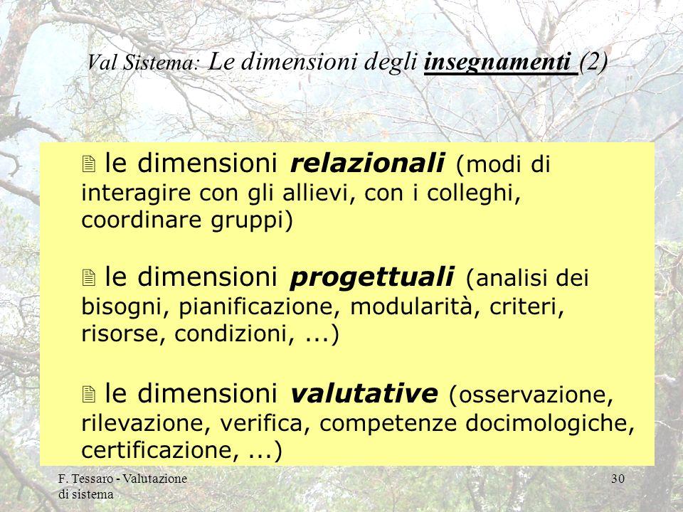 Val Sistema: Le dimensioni degli insegnamenti (2)