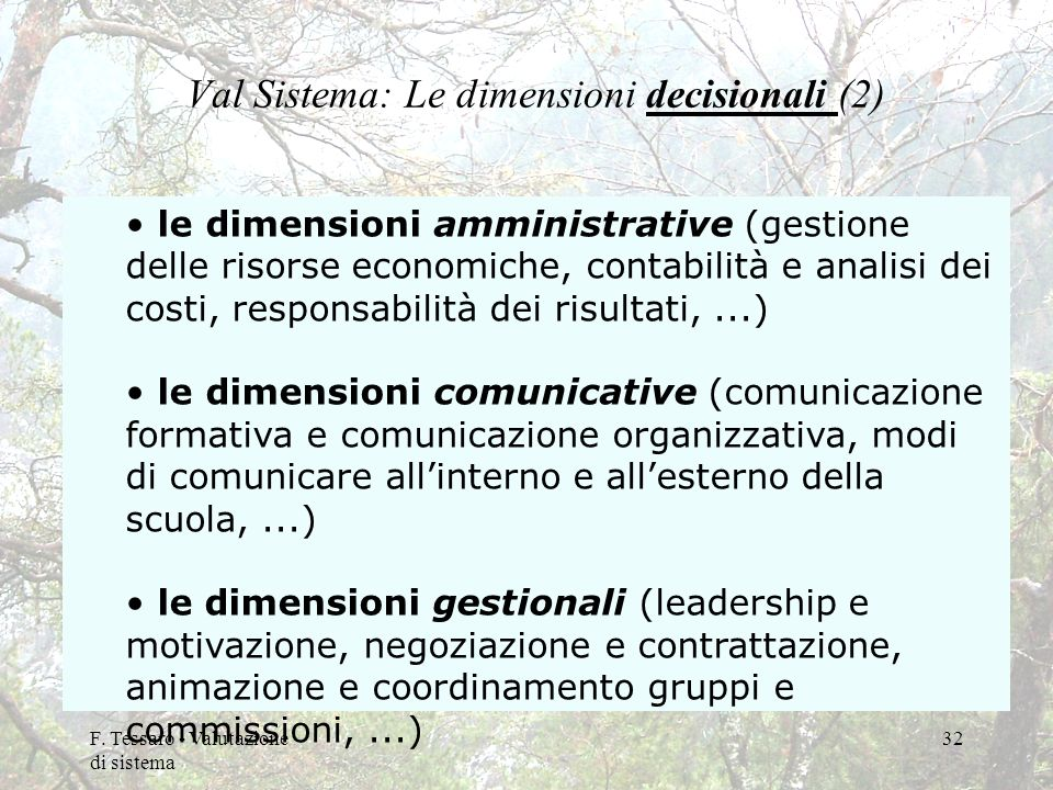 Val Sistema: Le dimensioni decisionali (2)