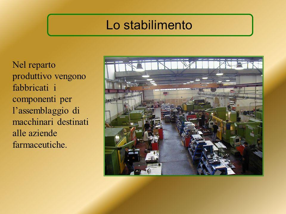 Lo stabilimento Nel reparto produttivo vengono fabbricati i componenti per l'assemblaggio di macchinari destinati alle aziende farmaceutiche.