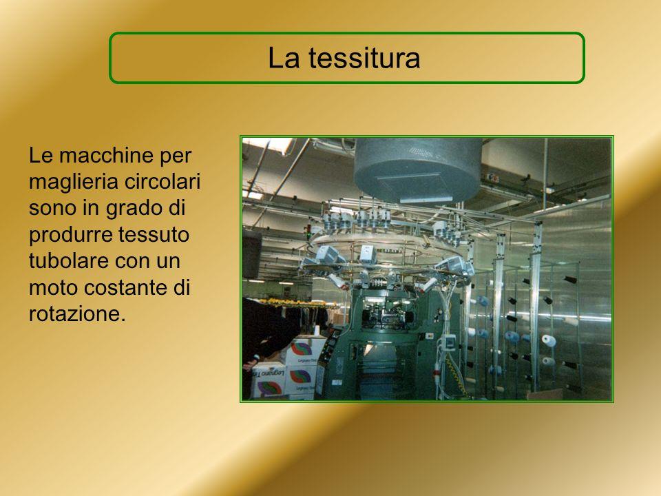 La tessituraLe macchine per maglieria circolari sono in grado di produrre tessuto tubolare con un moto costante di rotazione.