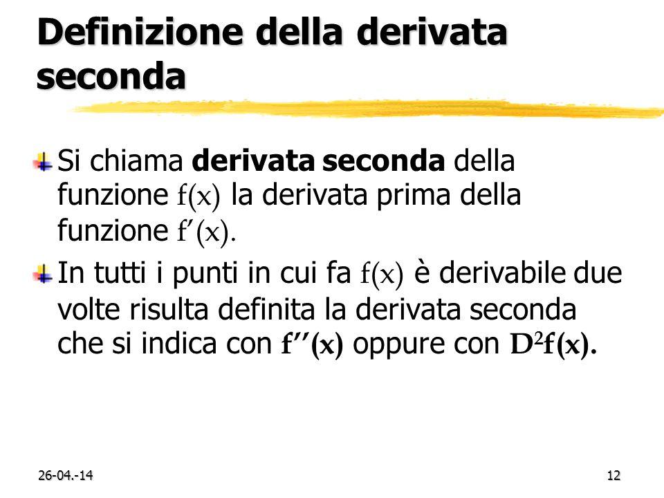 Definizione della derivata seconda
