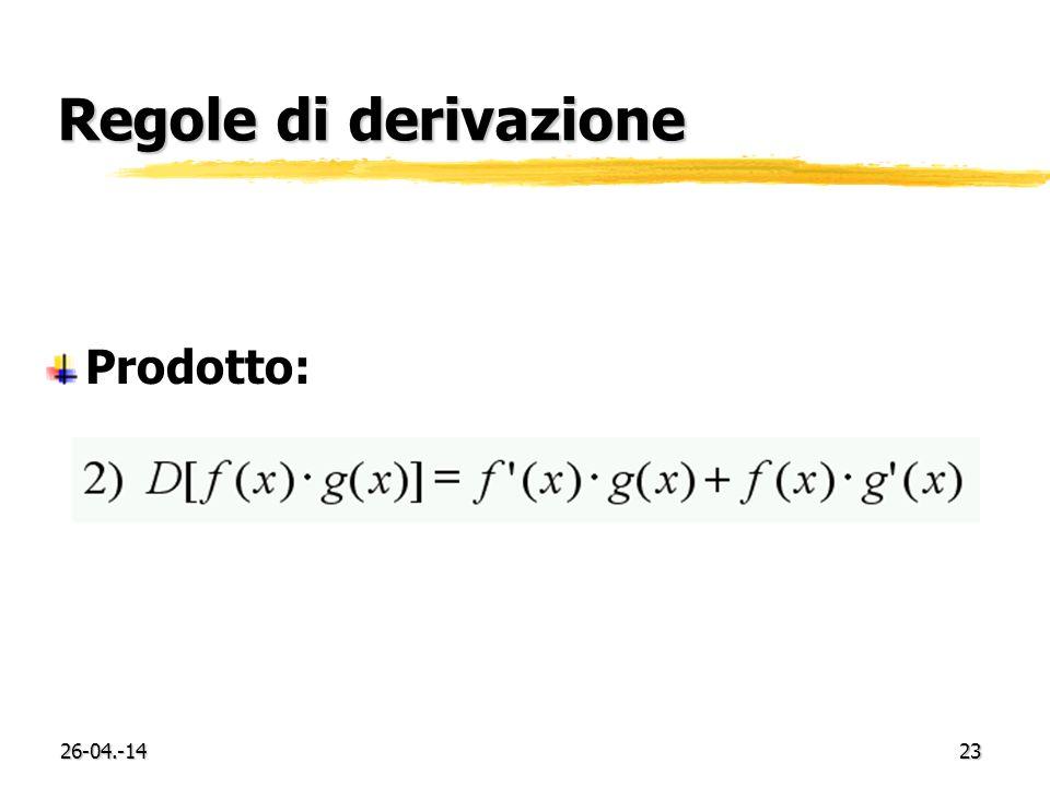 Regole di derivazione Prodotto: 29-03.-17