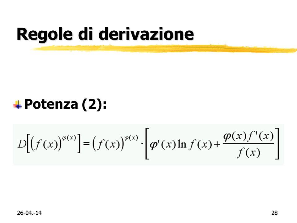 Regole di derivazione Potenza (2): 29-03.-17