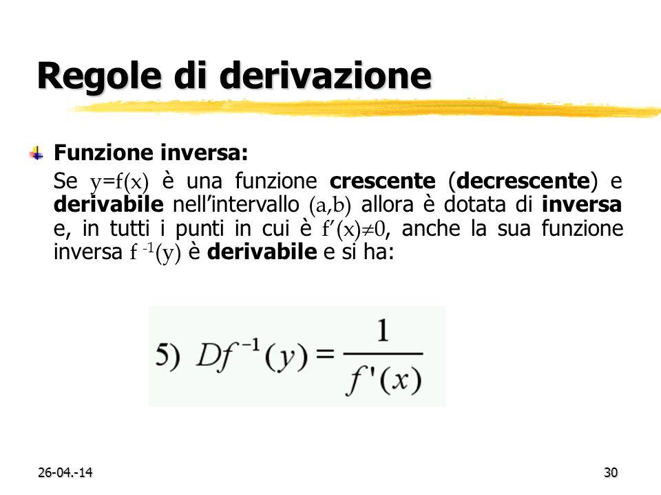Regole di derivazione Funzione inversa: