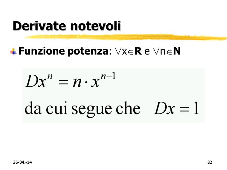Derivate notevoli Funzione potenza: xR e nN 29-03.-17