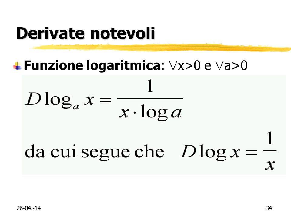 Derivate notevoli Funzione logaritmica: x>0 e a>0 29-03.-17
