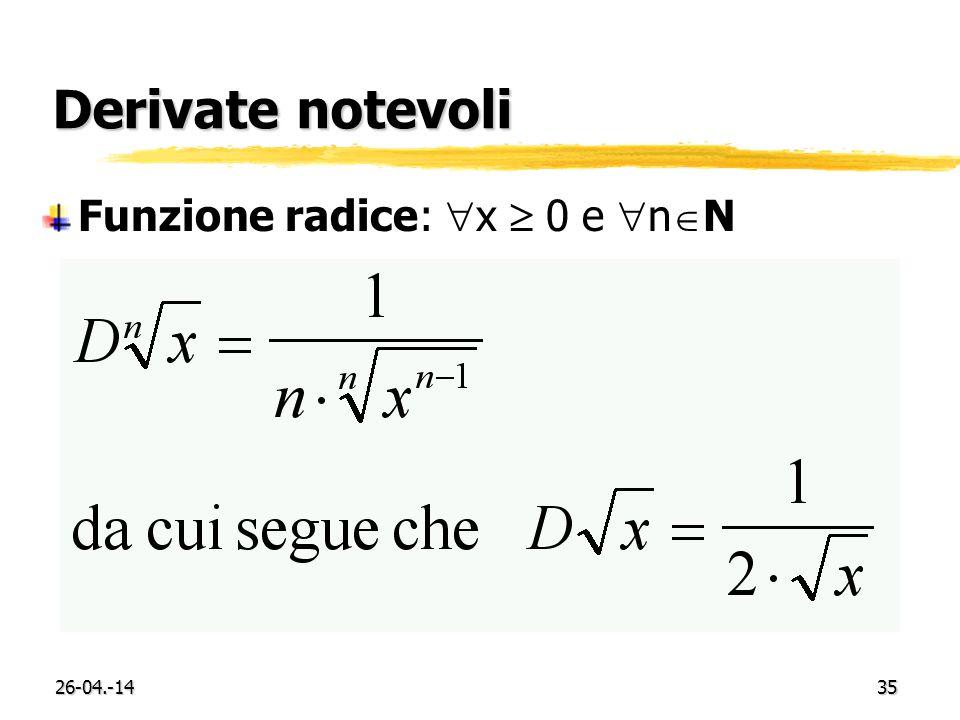 Derivate notevoli Funzione radice: x  0 e nN 29-03.-17