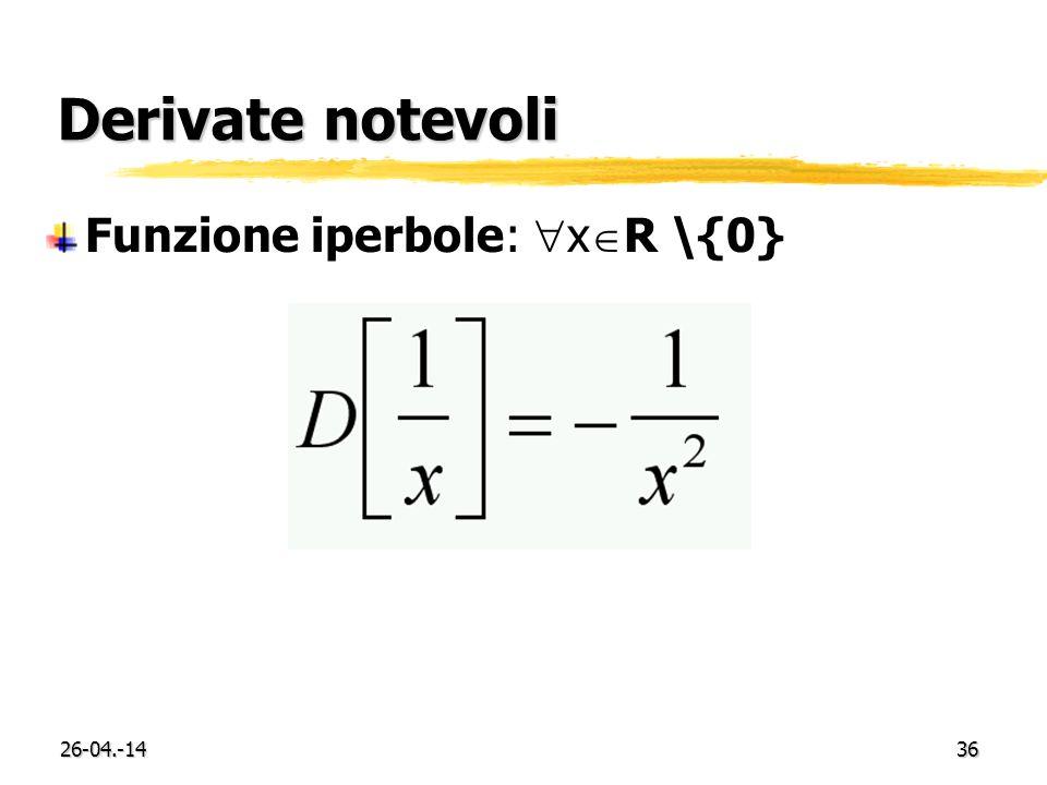Derivate notevoli Funzione iperbole: xR \{0} 29-03.-17