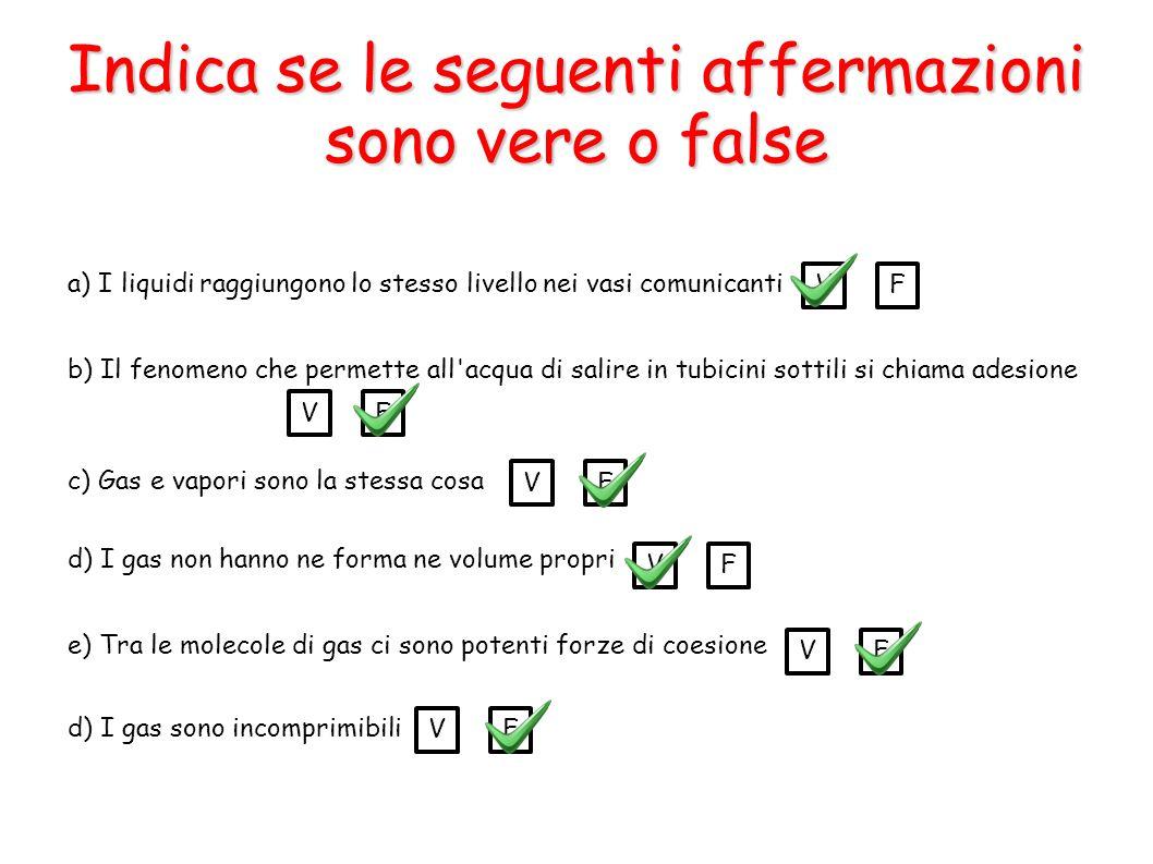 Indica se le seguenti affermazioni sono vere o false