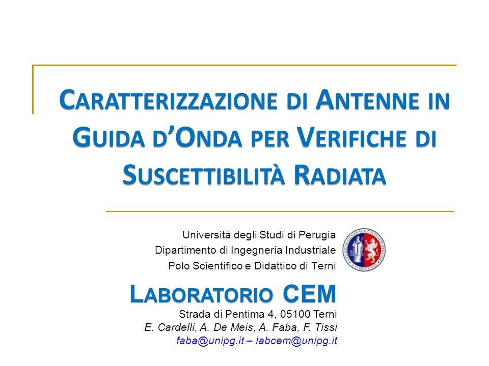 HMM 05 - Budapest 30 May 2005. Caratterizzazione di Antenne in Guida d'Onda per Verifiche di Suscettibilità Radiata.