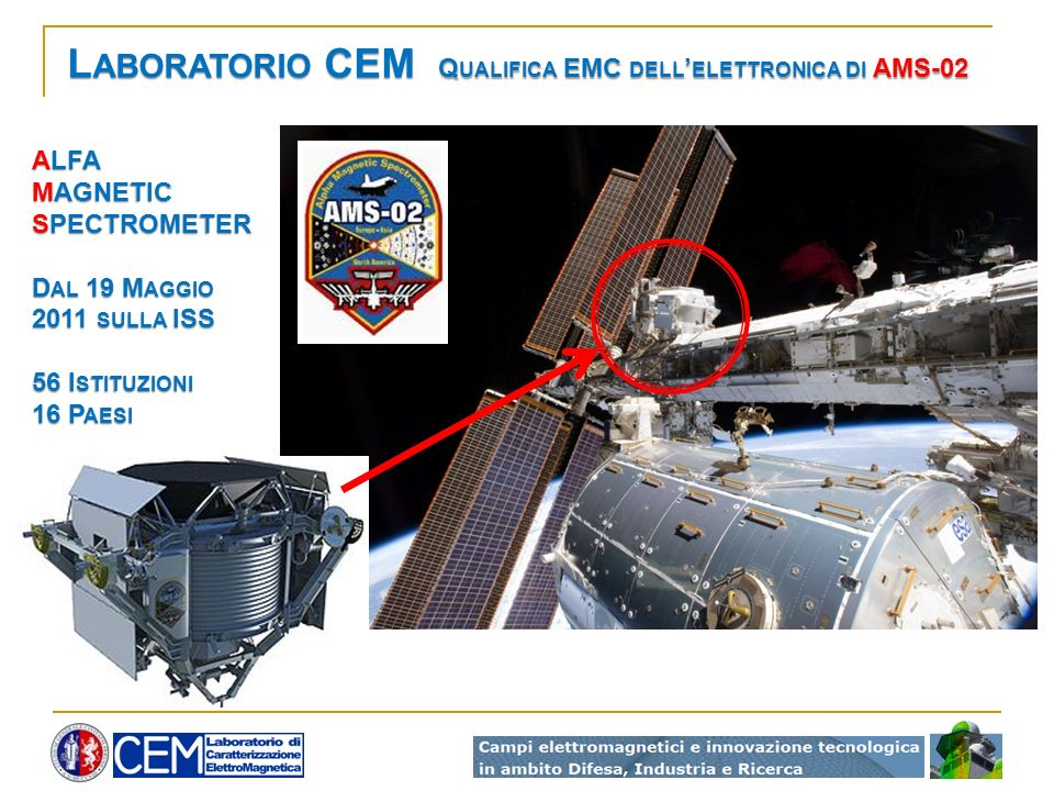 Laboratorio CEM Qualifica EMC dell'elettronica di AMS-02