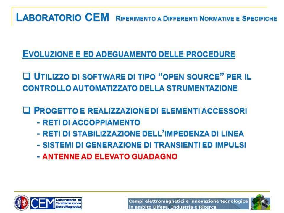 Laboratorio CEM Riferimento a Differenti Normative e Specifiche