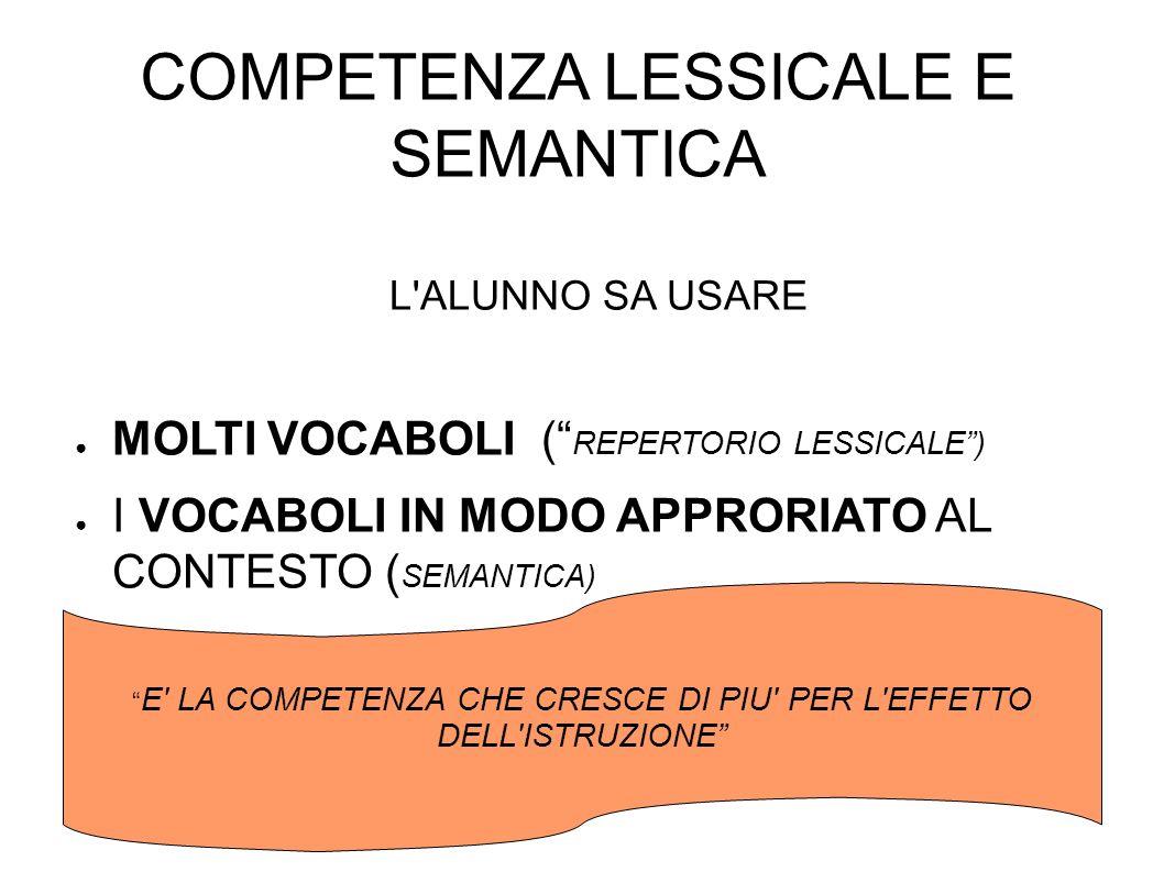 COMPETENZA LESSICALE E SEMANTICA