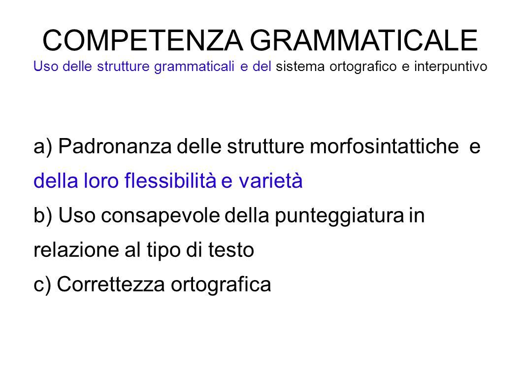 COMPETENZA GRAMMATICALE Uso delle strutture grammaticali e del sistema ortografico e interpuntivo