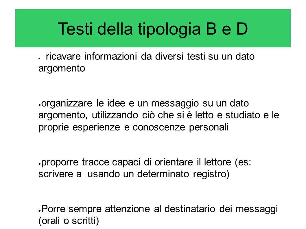 Testi della tipologia B e D
