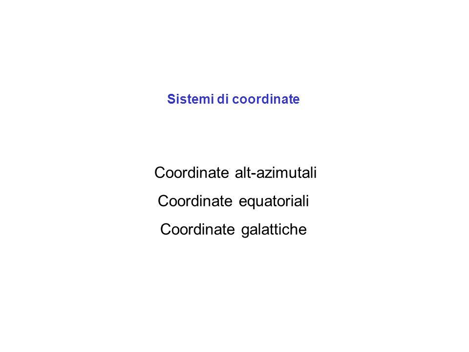 Coordinate alt-azimutali Coordinate equatoriali Coordinate galattiche