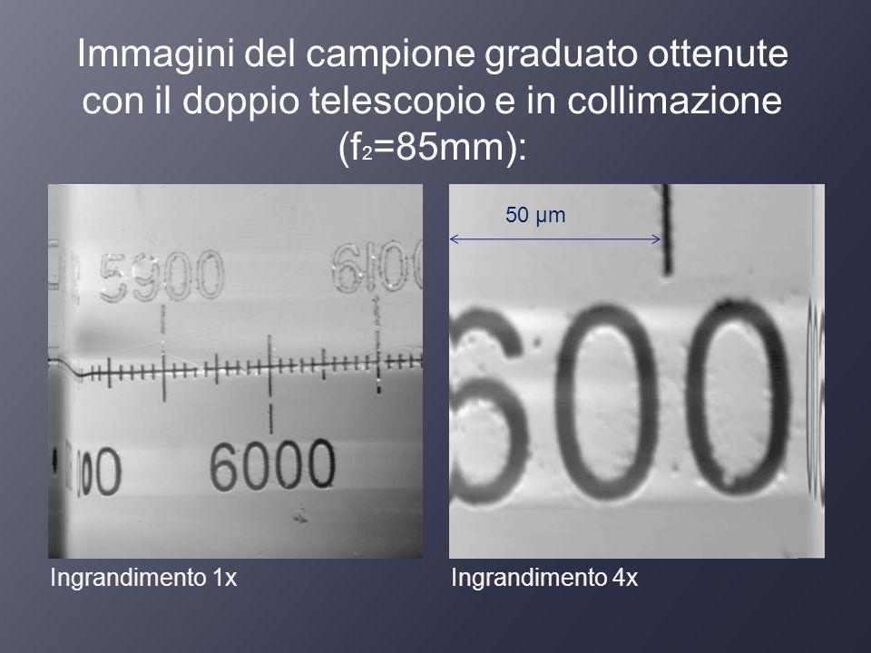Immagini del campione graduato ottenute con il doppio telescopio e in collimazione (f2=85mm):