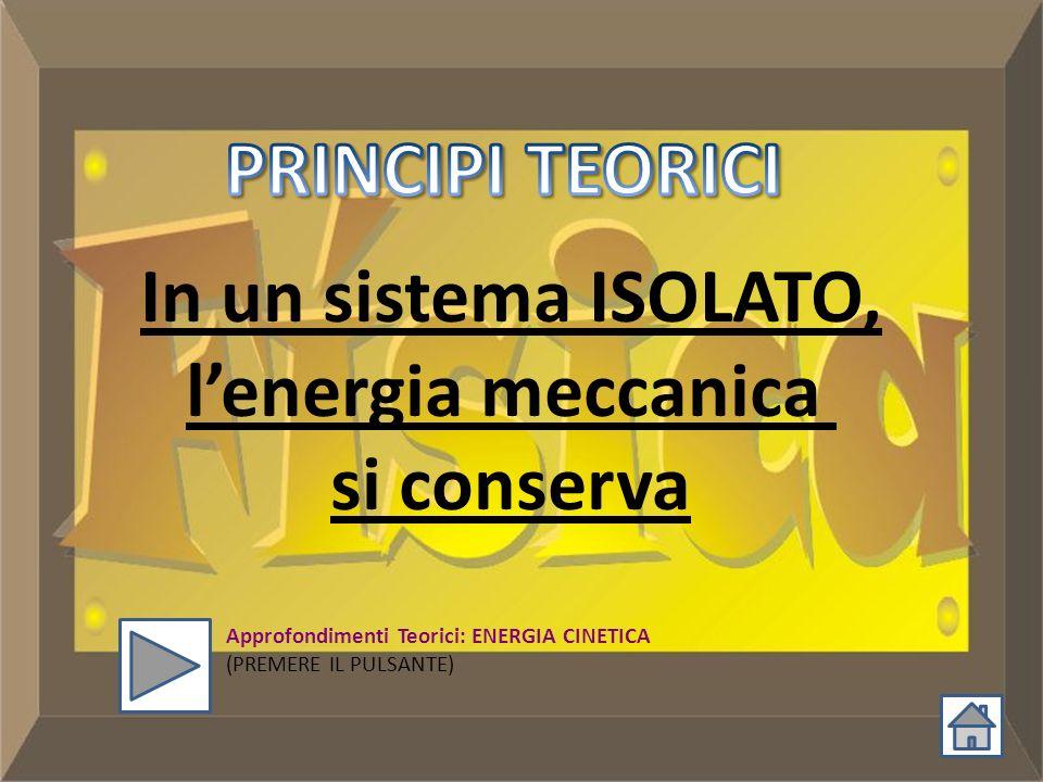 PRINCIPI TEORICI In un sistema ISOLATO, l'energia meccanica