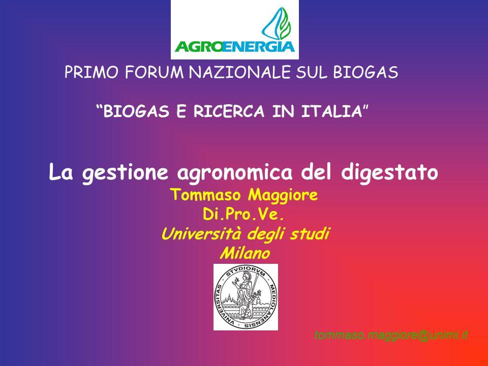 La gestione agronomica del digestato Università degli studi