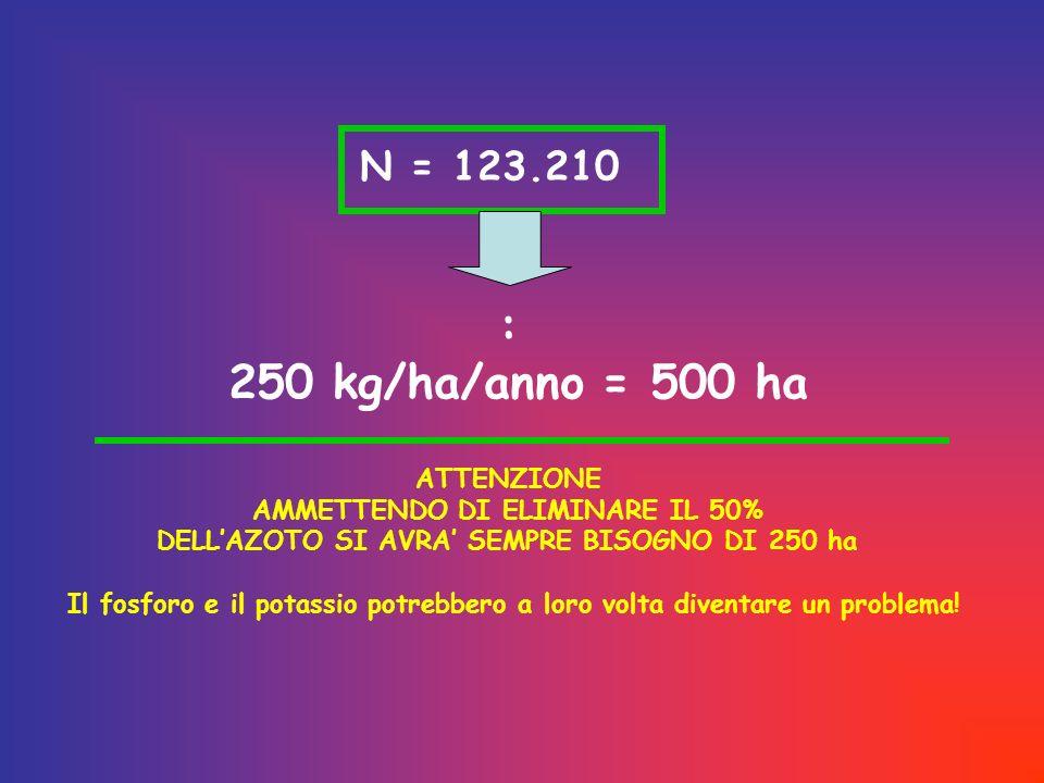 : 250 kg/ha/anno = 500 ha N = 123.210 ATTENZIONE