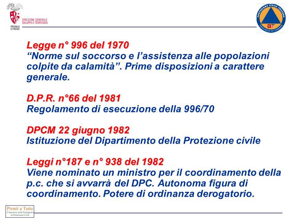 Legge n° 996 del 1970 Norme sul soccorso e l'assistenza alle popolazioni colpite da calamità .