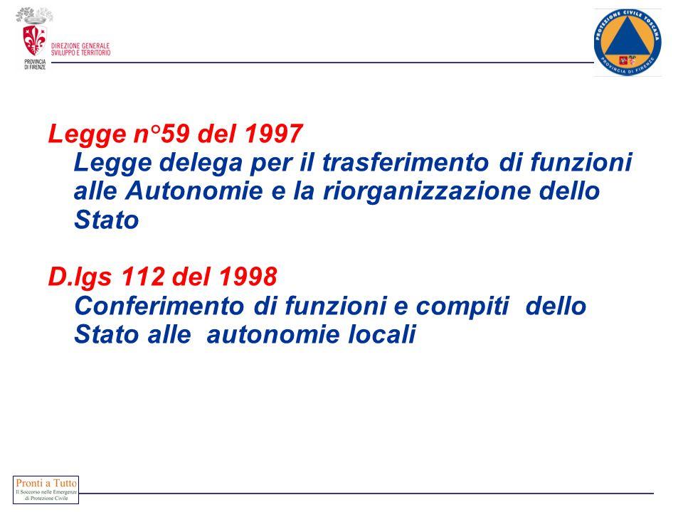 Legge n°59 del 1997 Legge delega per il trasferimento di funzioni alle Autonomie e la riorganizzazione dello Stato