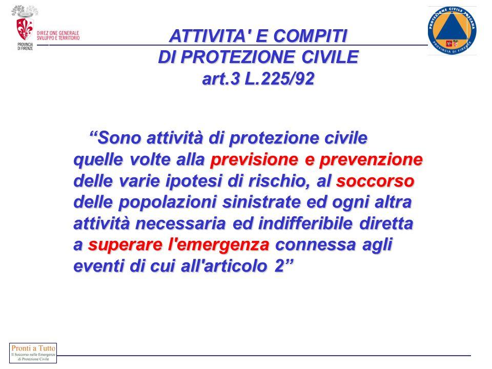 ATTIVITA E COMPITI DI PROTEZIONE CIVILE art.3 L.225/92