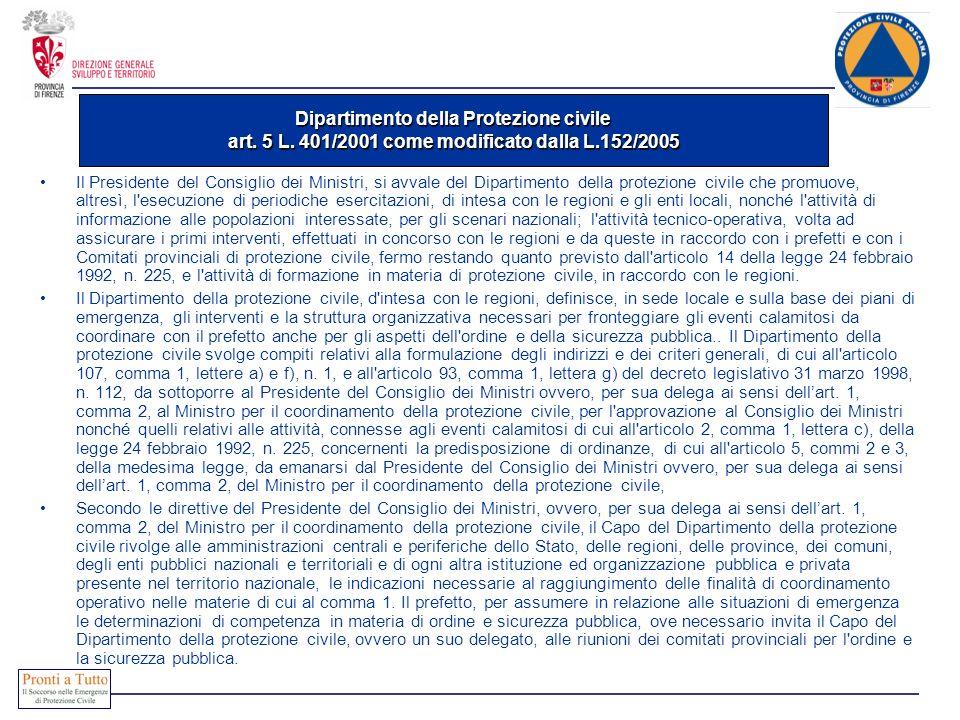 Dipartimento della Protezione civile art. 5 L