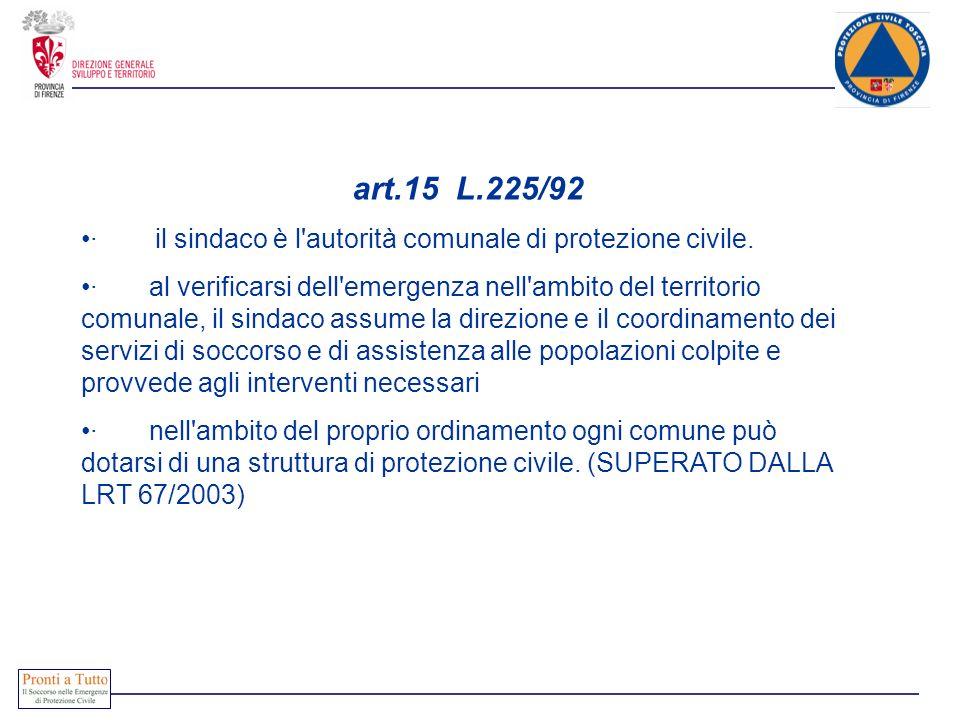 art.15 L.225/92· il sindaco è l autorità comunale di protezione civile.